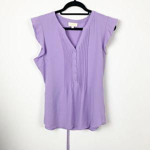 ModCloth Blouse Purple Lilac Pleated Shirt Size L